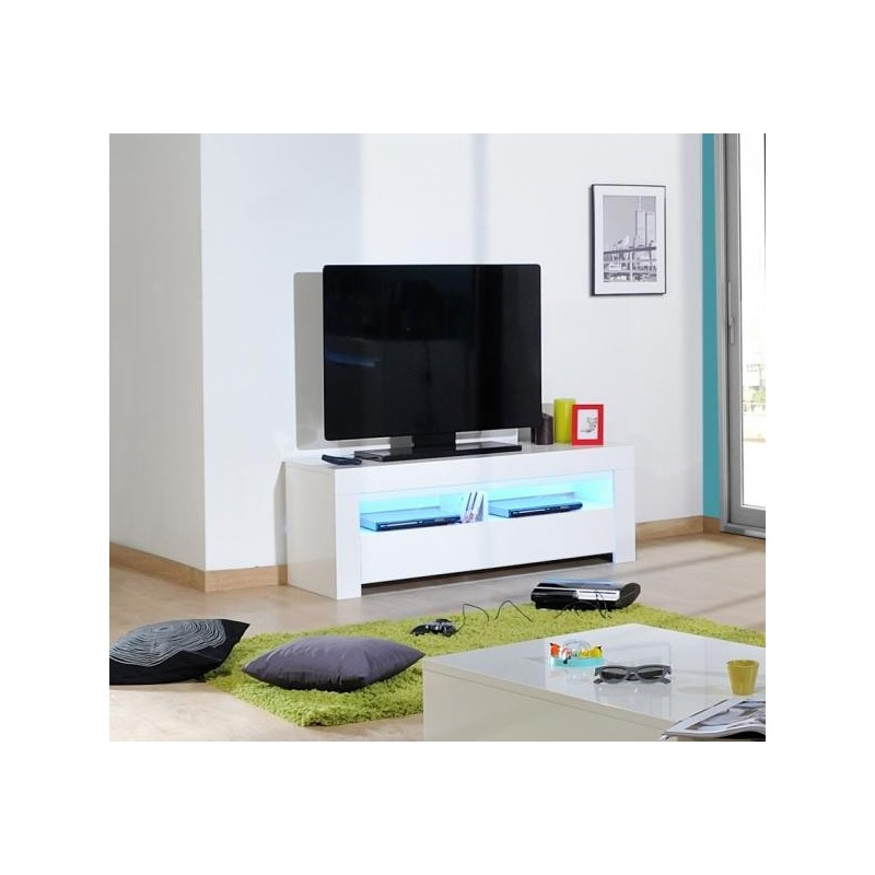 Gala White High Gloss TV Unit With LED Lights