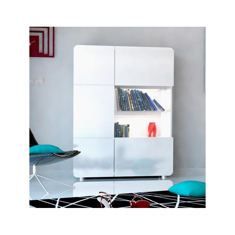 Bump  White Gloss Storage ,display Unit With LED Lights