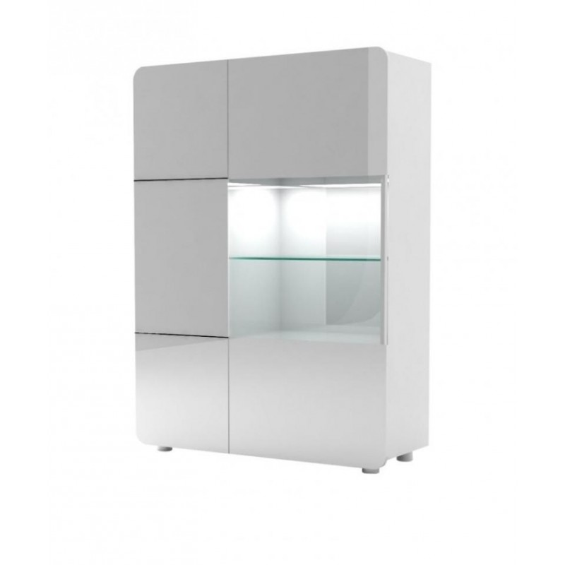Bump  White Gloss Storage ,display Unit With LED Lights   Display Cabinets    Sena Home Furniture