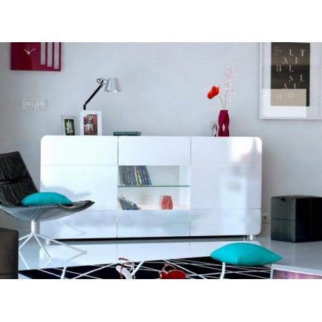 Charmant Bump  White Gloss Sideboard With LED Lights