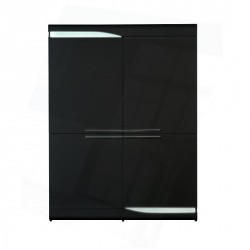 Ovio - black gloss highboard with LED lights
