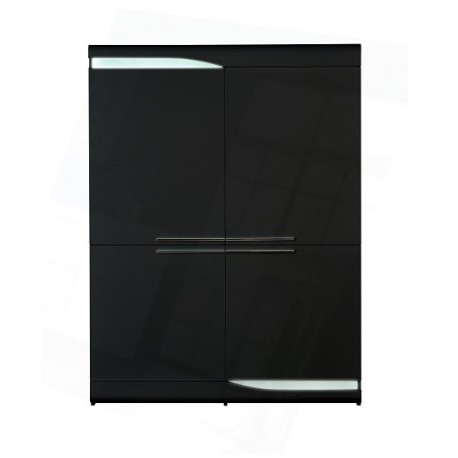 Ovio - black gloss highboard with LED lights