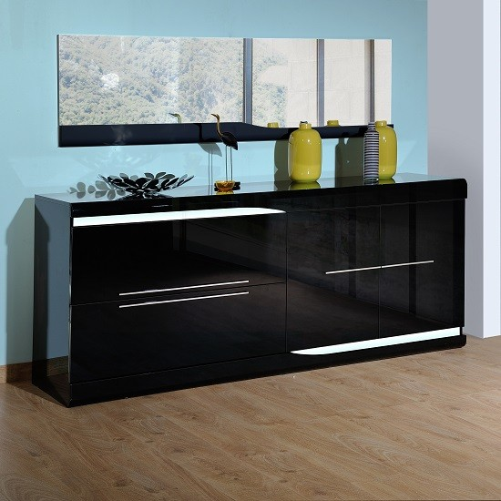 Ovio Black Gloss Sideboard With Led Lights Sideboards