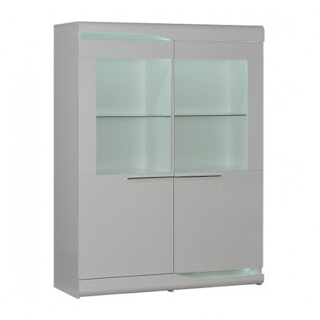 Ovio white - wide display cabinet with LED lights