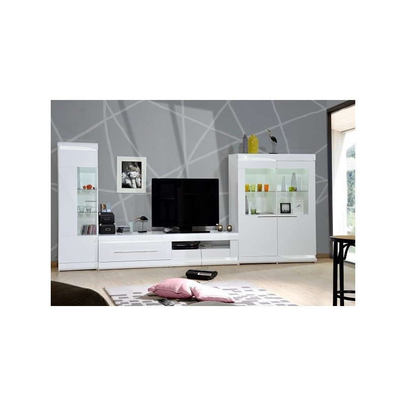 ovio white wide display cabinet with led lights display cabinets