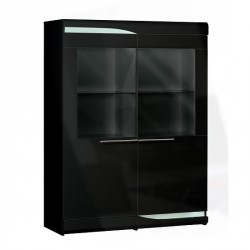 Ovio black - wide display cabinet with LED lights