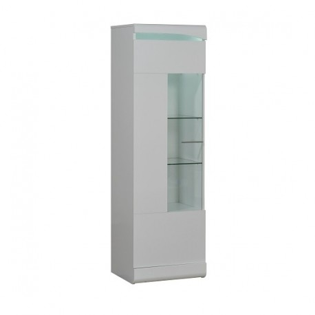 Ovio -white narrow display cabinet with LED lights