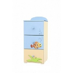 Blue Lagoon - tall narrow chest of 3 drawers