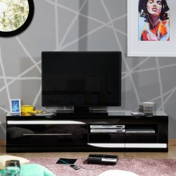 Ovio - black High Gloss TV Unit with LED lights