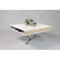 Pia II - white gloss coffee table with oak finish