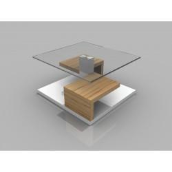 Sara - glass top coffee table with oak finish