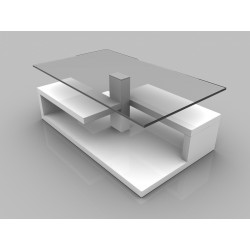 Tim - glass top coffee table with white gloss finish