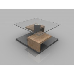 Maja - glass top coffee table with grey gloss finish