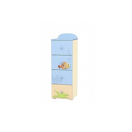 Blue Lagoon - tall narrow chest of 4 drawers