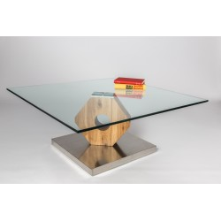 Felino - glass top coffee table with natural oak finish