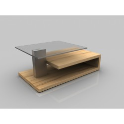 Matt - glass top coffee table with oak finish
