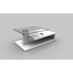 Matt II - glass top coffee table in white lacquer finish