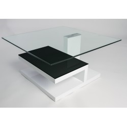 Francesco - glass top coffee table with white gloss finish