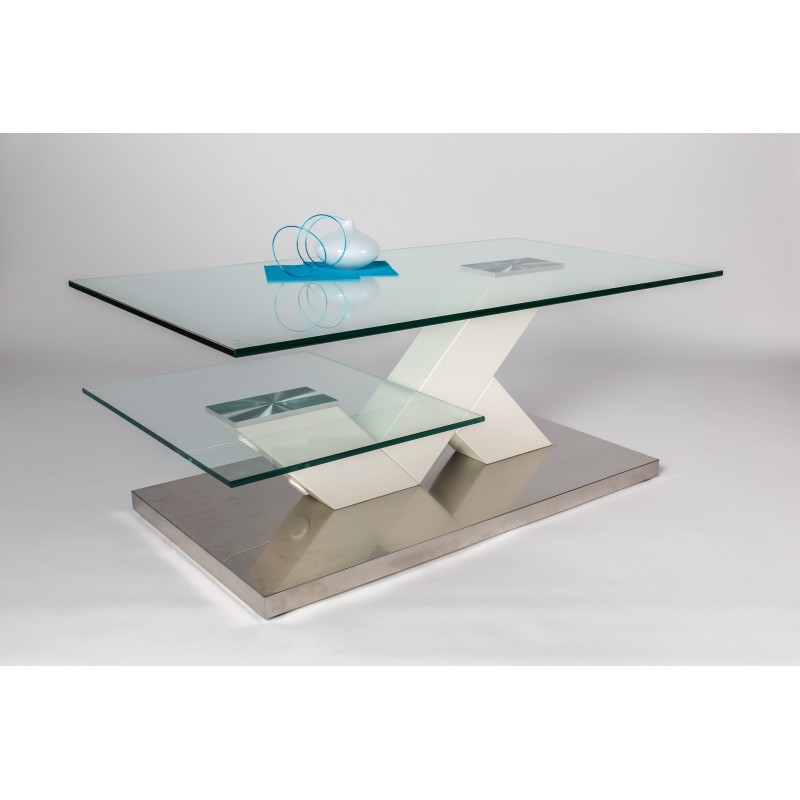 Glass Top Coffee Table With White Lacquer Finish