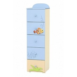 Blue Lagoon - tall narrow chest of 5 drawers