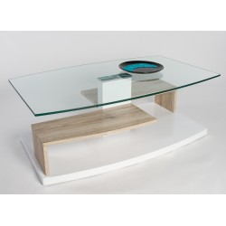 Tom II - glass top coffee table with oak finish