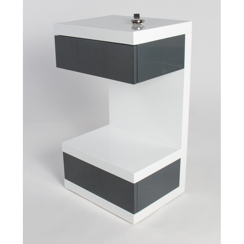 Bn Design High Gloss White Coffee Table With Side Drawers: Linus -high Gloss Side Table