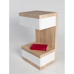 Linus II -high gloss side table with oak finish