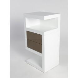 Neomi-high gloss and oak finish side table