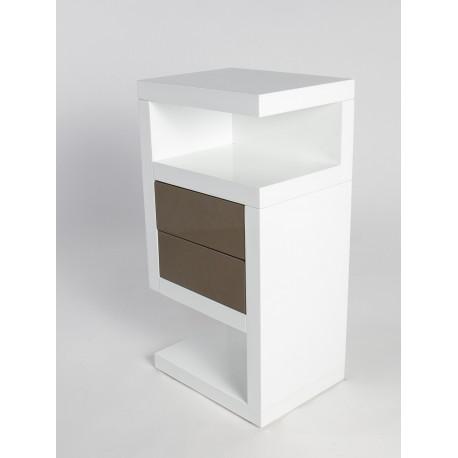Neomi-high gloss and oak finish side table