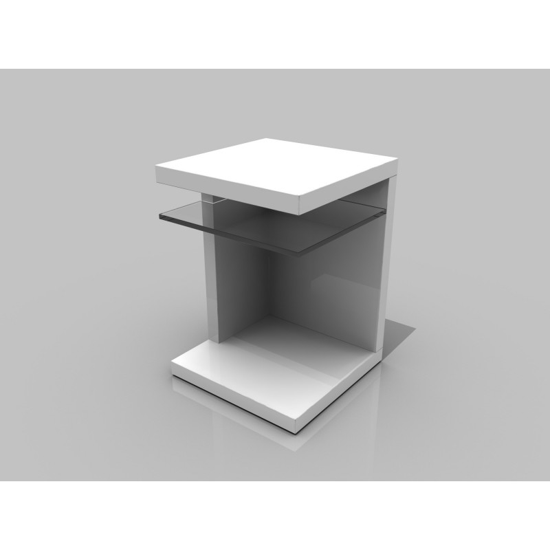 Bn Design High Gloss White Coffee Table With Side Drawers: Lilli High Gloss Side Table