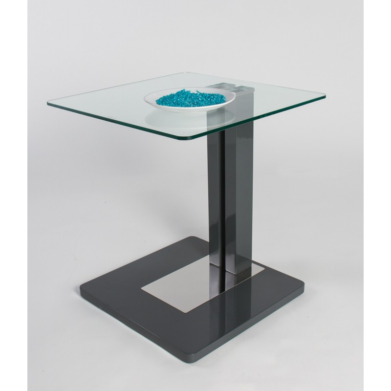 Giorgia Glass Top Side Table With Gloss Finish Coffee Tables Sena Home Furniture