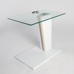 Arianna - glass top side table with gloss finish