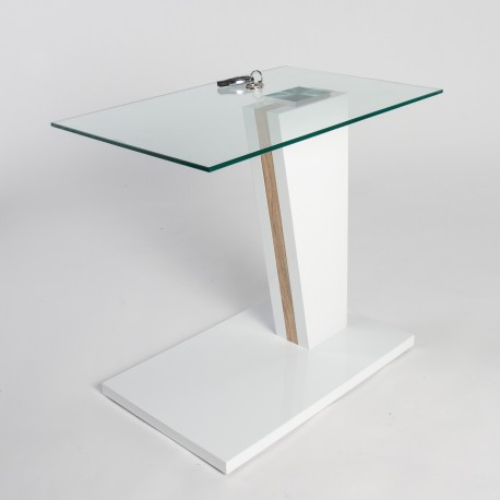 Arianna Glass Top Side Table With Gloss Finish Coffee Tables