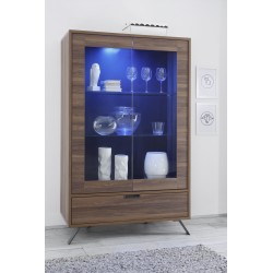 Parma-Dark Walnut wide display cabinet with lights