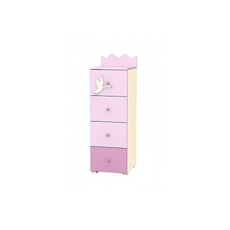 Swan - tall narrow chest of 4 drawers