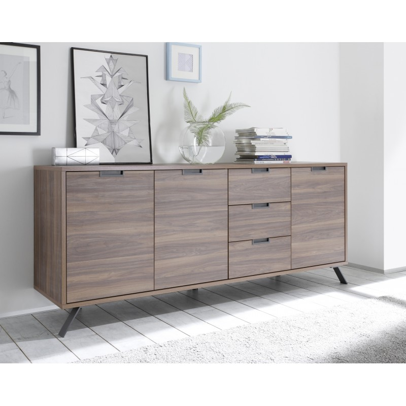 parma dark walnut 3 door sideboard sideboards sena home furniture. Black Bedroom Furniture Sets. Home Design Ideas