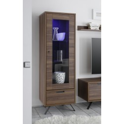 Parma-dark walnut narrow display cabinet with lights