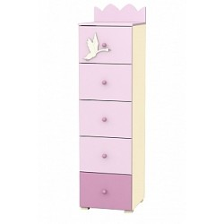 Swan - tall narrow chest of 5 drawers