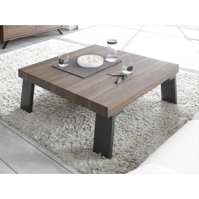 Parma dark walnut coffee table with steel legs coffee for Petite table basse de salon