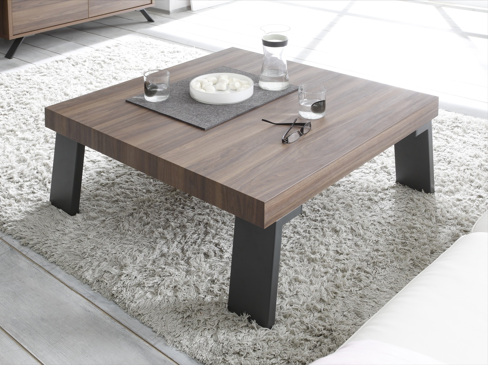 parma-dark walnut coffee table with steel legs - coffee tables