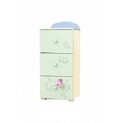 Secret Garden - tall narrow chest of 3 drawers
