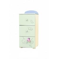 Secret Garden - tall narrow chest of 3 drawers