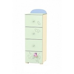 Secret Garden - tall narrow chest of 4 drawers