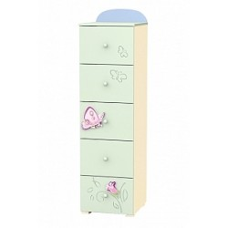 Secret Garden - tall narrow chest of 5 drawers