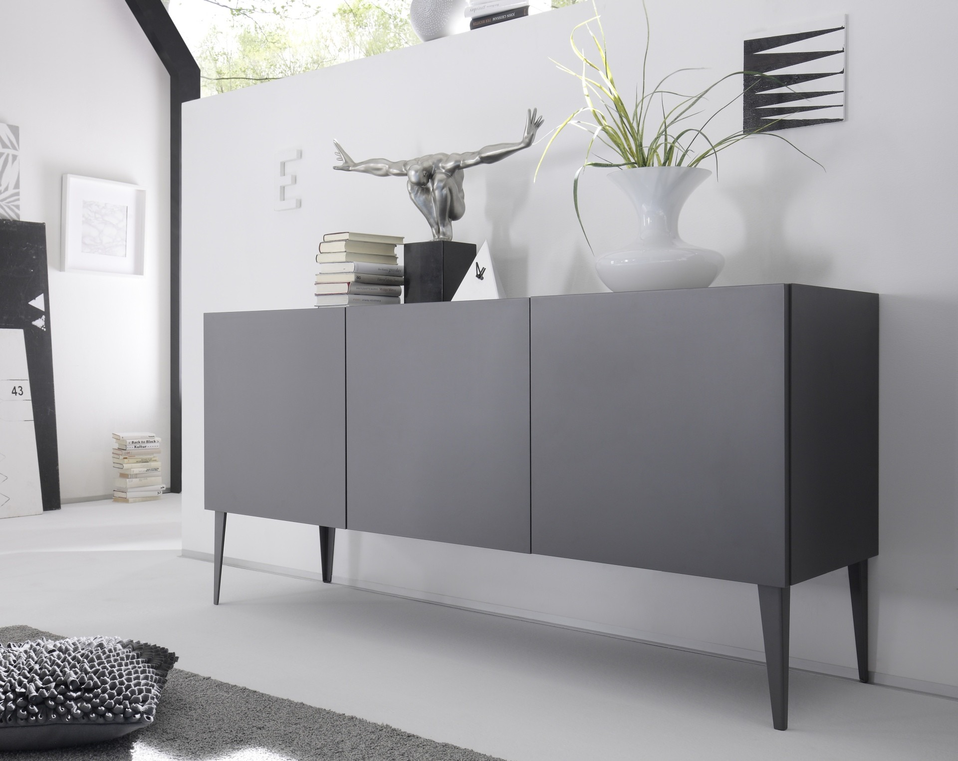livia grey or white matt lacquered sideboard sideboards sena home furniture. Black Bedroom Furniture Sets. Home Design Ideas