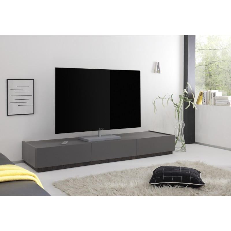 Livia Grey Matt Lacquered TV Lowboard With Drawers