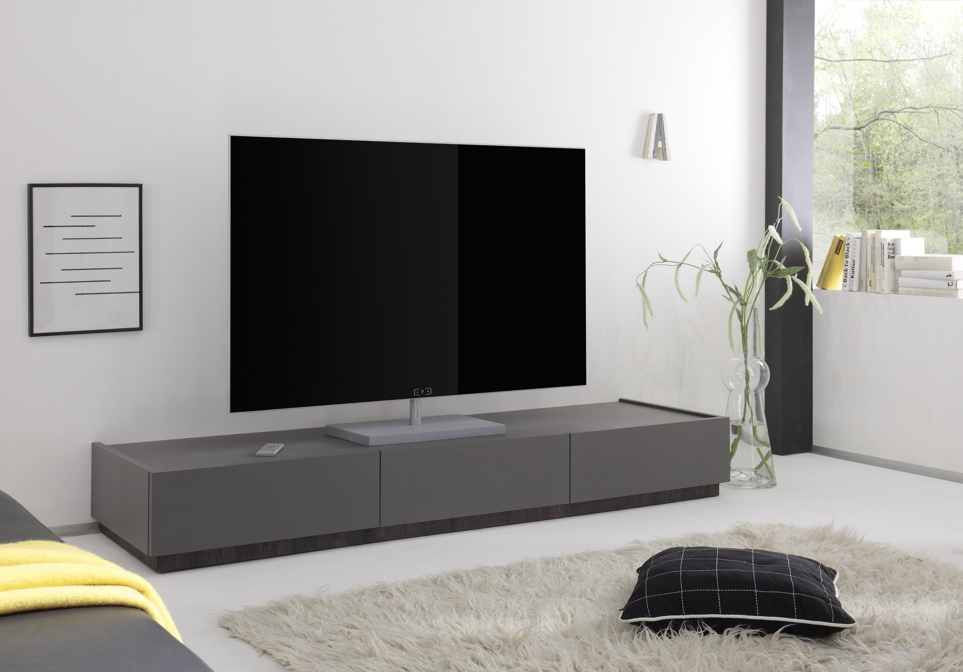 livia grey matt lacquered tv lowboard with drawers tv stands 1831 sena home furniture