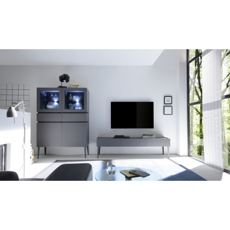 Livia - grey matt lacquered TV unit with drawers