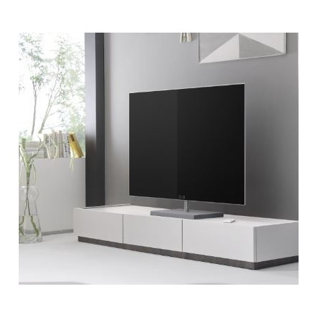 Livia - white matt lacquered TV lowboard with drawers