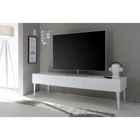 Livia - white matt lacquered TV unit with drawers